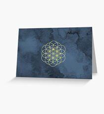 Flower of Life Mandala Watercolor Greeting Card