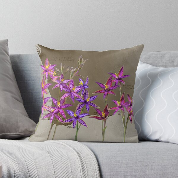 Map SW with Queen of Sheba Orchids Throw Pillow