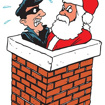 Thief and Santa together in chimney by AmorOmniaVincit