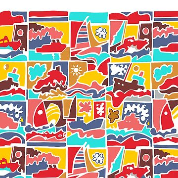 Seasalter Pattern Sailing Boat Ships Print Colourful Design by emmafifield