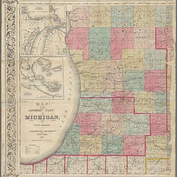 Vintage map of Michigan by Geekimpact