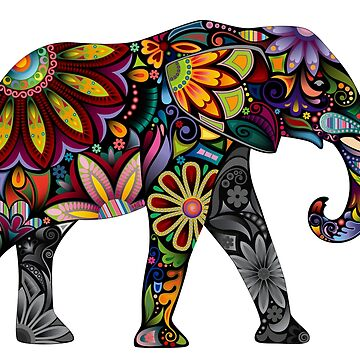Colorful elephant in patterned design by headpossum