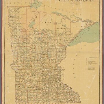 Vintage map of Minnesota state by Geekimpact