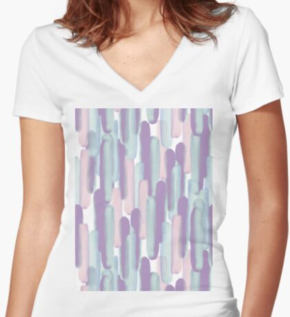 Crowd #redbubble #abstractart Fitted V-Neck T-Shirt