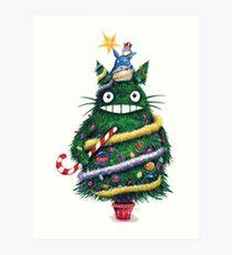 Totoro as Christmas Tree Art Print
