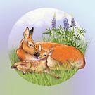 Deers and lupines by Birgit Schiffer