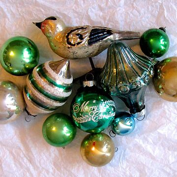 Vintage Christmas Ornaments Green by collageDP