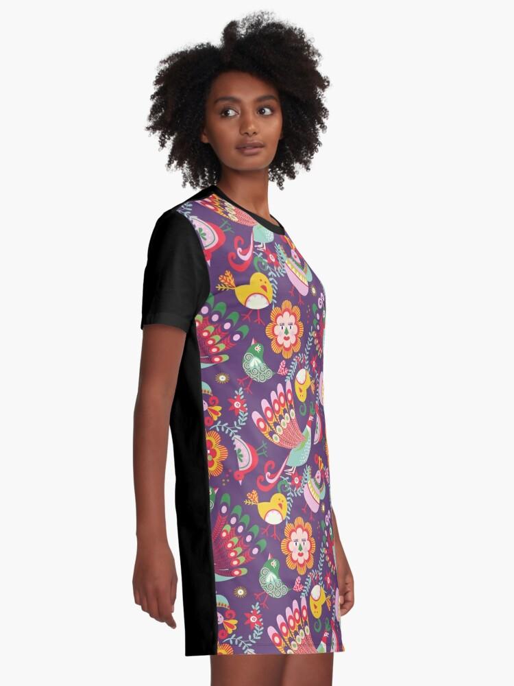 Alternate view of  scandinavian folkart birdies | purple Graphic T-Shirt Dress