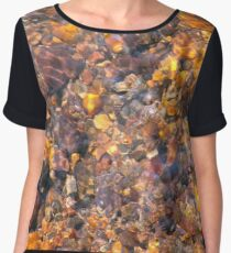 Clear Water Flows Over Golden Brown Pebbles Stream Abstract Chiffon Top
