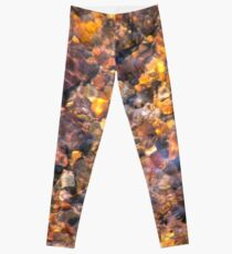 Clear Water Flows Over Golden Brown Pebbles Stream Abstract Leggings