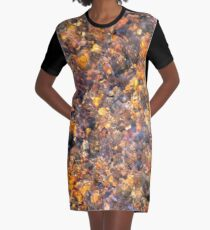 Clear Water Flows Over Golden Brown Pebbles Stream Abstract Graphic T-Shirt Dress