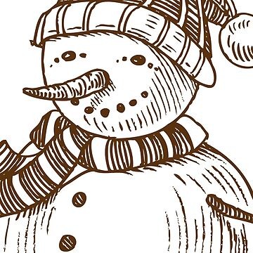 Christmas Snowman in Sketch - Doodle by MyArt23