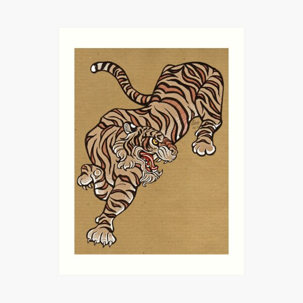 Tiger in Asian Style Art Print