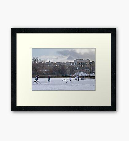 Ice Hockey and Edinburgh Castle Framed Print