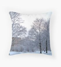 Wintery Suburbia Throw Pillow