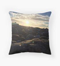 Evening on beach Throw Pillow