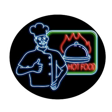Chef Thumbs Up Hot Food Oval Neon Sign by patrimonio