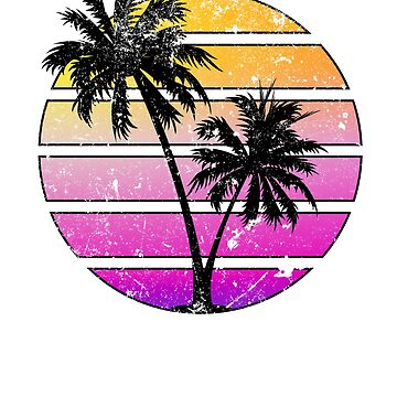 Retro Style Distressed Sunset Silhouette Design by BrobocopPrime
