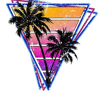 Vintage Distressed Style Triangle Palm Tree Silhouette Design by BrobocopPrime