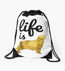 Golden Retriever Dog Gift Shirt Life Is Golden Drawstring Bag