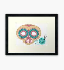 Crochet Skull Framed Print