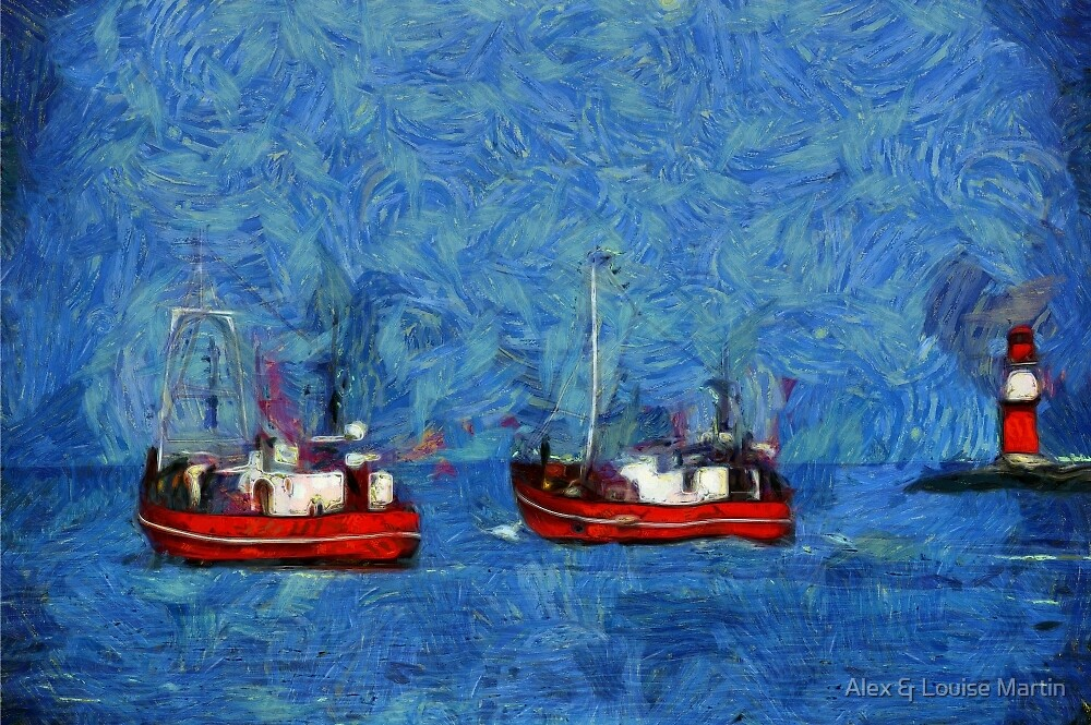 Fishing Boats off Warnemunde Lighthouse by Alex & Louise Martin