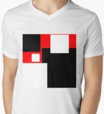Modern Style Colour Blocks Red Background Men's V-Neck T-Shirt