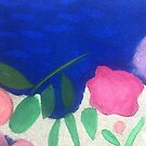 Pink Roses on Blue by Karen Moody