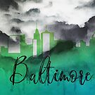 Baltimore | Stadt Skyline | Buntes Aquarell von PraiseQuotes