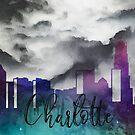 Charlotte | Stadt Skyline | Buntes Aquarell von PraiseQuotes