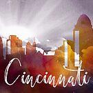 Cincinnati | Stadt Skyline | Buntes Aquarell von PraiseQuotes