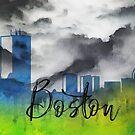 Boston | Stadt Skyline | Buntes Aquarell von PraiseQuotes