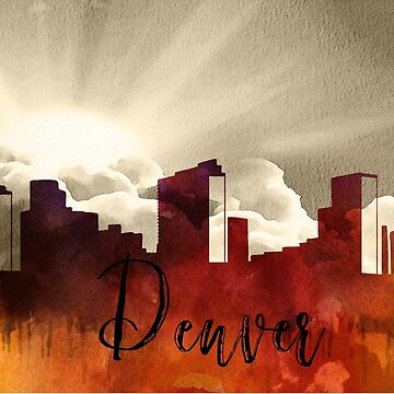 Denver | CIty Skyline | Colorful Watercolor by PraiseQuotes