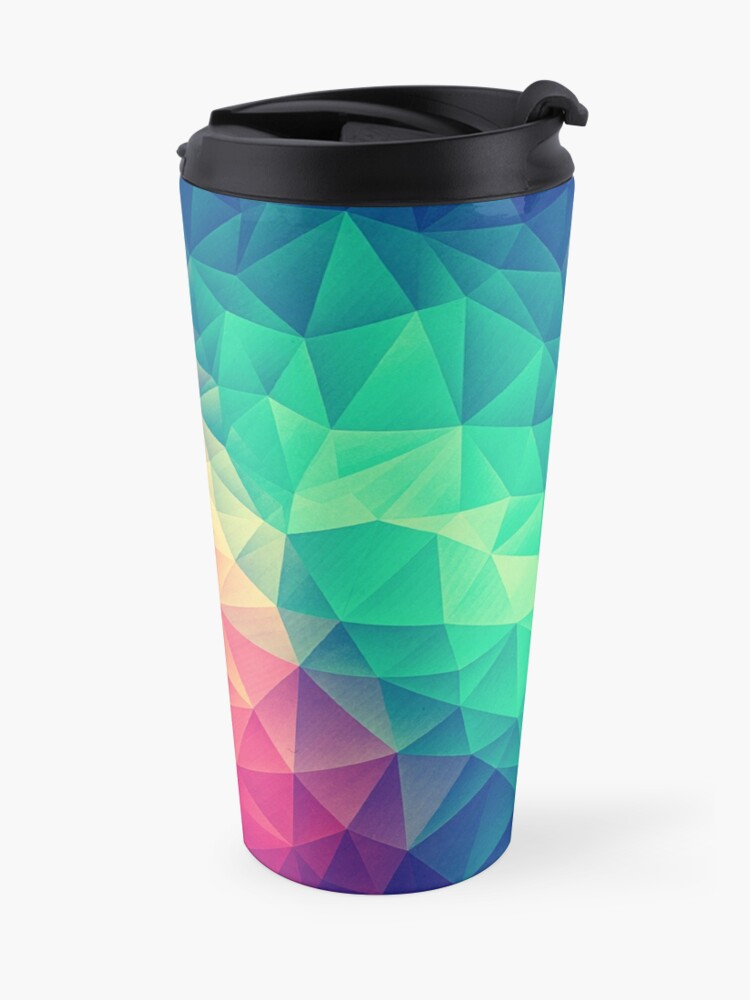 Alternative Ansicht von Abstract Polygon Multi Color Cubism Low Poly Triangle Design Thermobecher