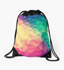 Abstract Polygon Multi Color Cubism Low Poly Triangle Design Drawstring Bag