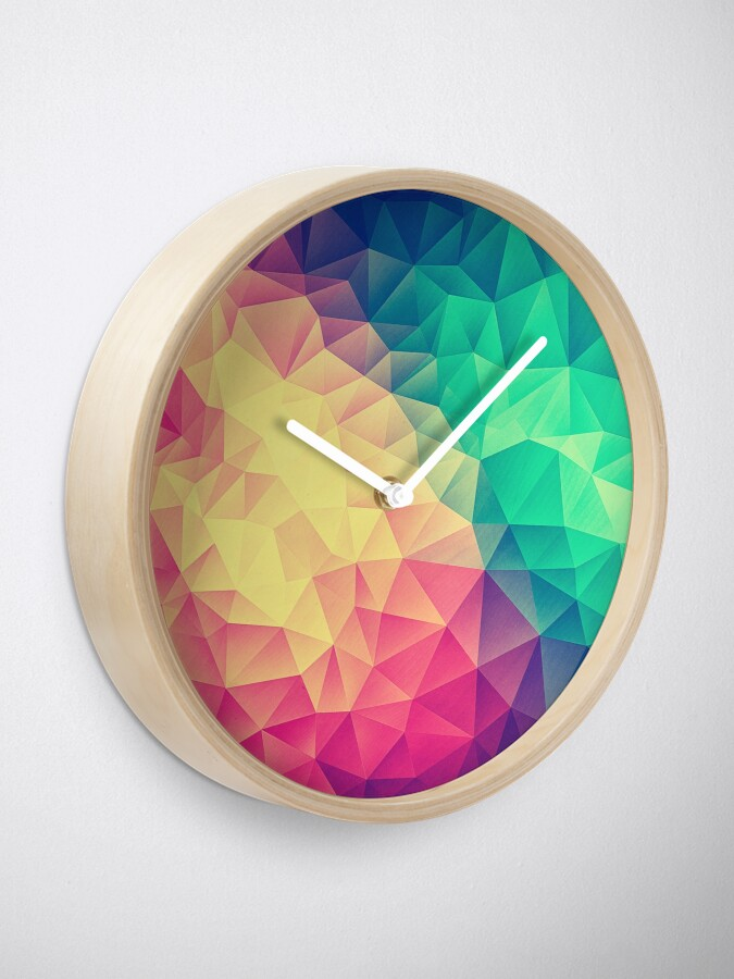 Alternative Ansicht von Abstract Polygon Multi Color Cubism Low Poly Triangle Design Uhr