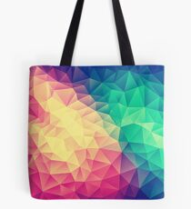 Abstract Polygon Multi Color Cubism Low Poly Triangle Design Tote Bag