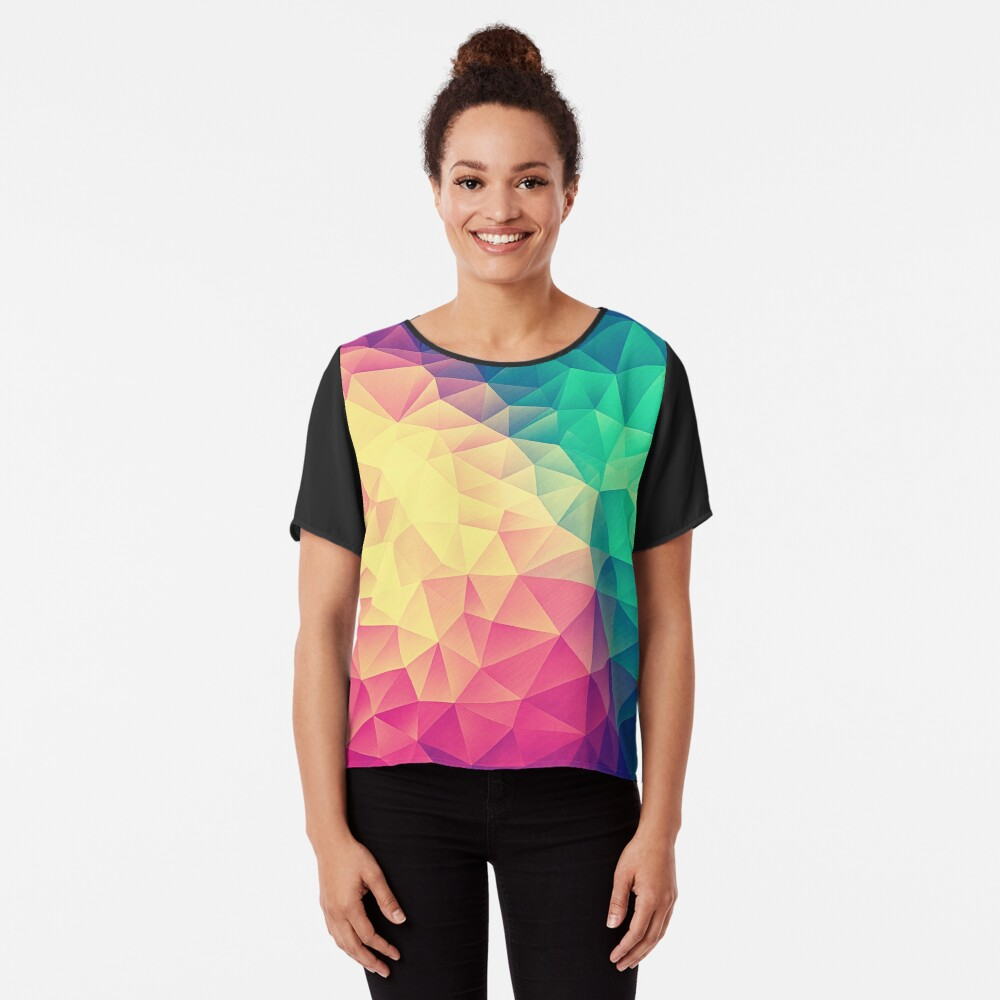 Abstract Polygon Multi Color Cubism Low Poly Triangle Design Chiffon Top