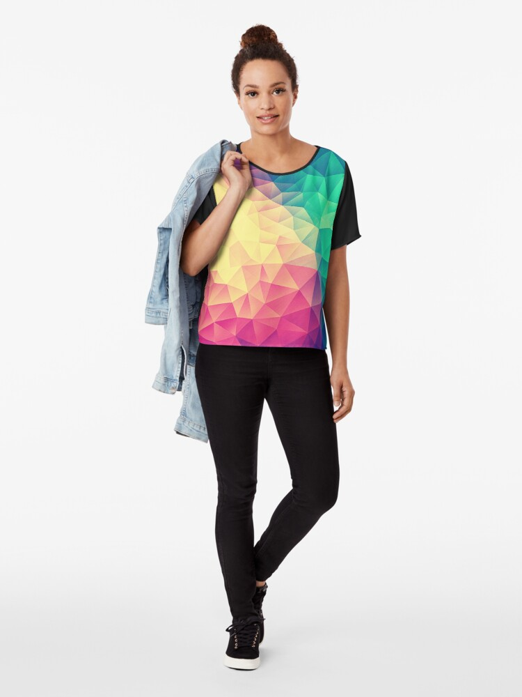 Alternative Ansicht von Abstract Polygon Multi Color Cubism Low Poly Triangle Design Chiffon Top