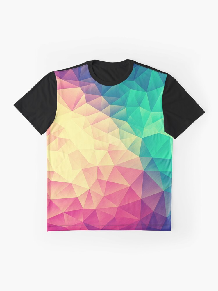 Alternative Ansicht von Abstract Polygon Multi Color Cubism Low Poly Triangle Design Grafik T-Shirt