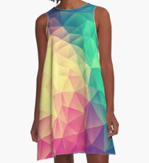 Abstract Polygon Multi Color Cubism Low Poly Triangle Design A-Line Dress