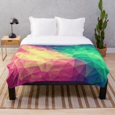 Abstract Polygon Multi Color Cubism Low Poly Triangle Design Fleecedecke