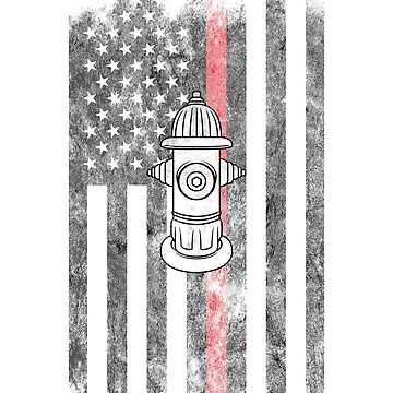 Fire Hydrant American Flag Thin Red Line Firefighter Shirt by we1000