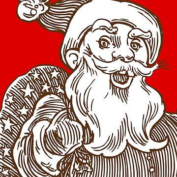 Vintage Retso Santa Clause in Sketch - Doodle by MyArt23