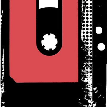 Analog faded grunge retro audio tape with grungy halftone paint by UDDesign