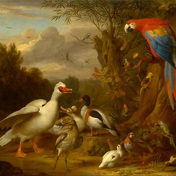 Jacob Bogdani - A Macaw, Ducks, Parrots and Other Birds in a Landscape by planetterra