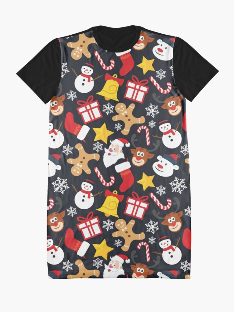 Alternate view of Cool Christmas Collage Graphic T-Shirt Dress
