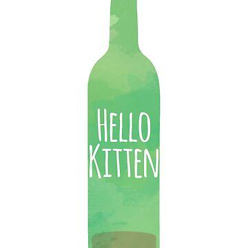 Hello Kitten wine bottle with writing by JDJDesign