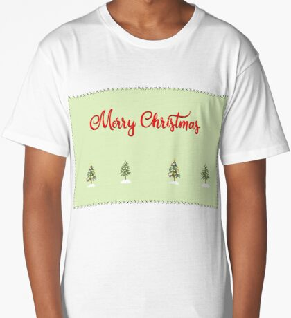 Merry Christmas Trees Stitches Long T-Shirt