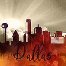 Dallas | Stadt Skyline | Buntes Aquarell von PraiseQuotes